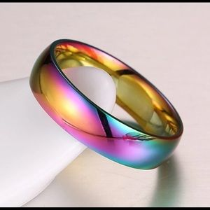 Rainbow iridescent band ring
